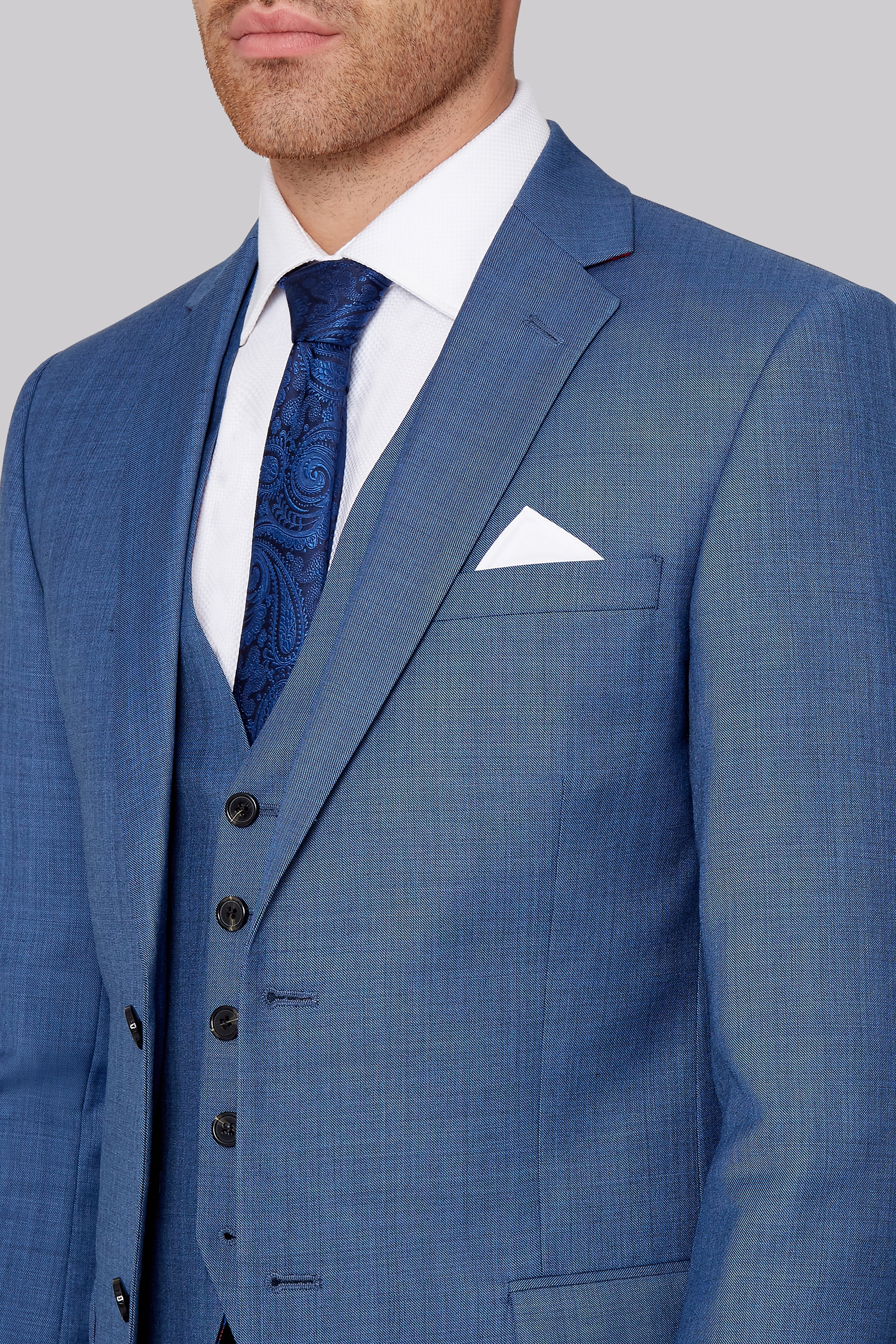 Ted Baker Tailored Fit French Blue Sharkskin Jacket