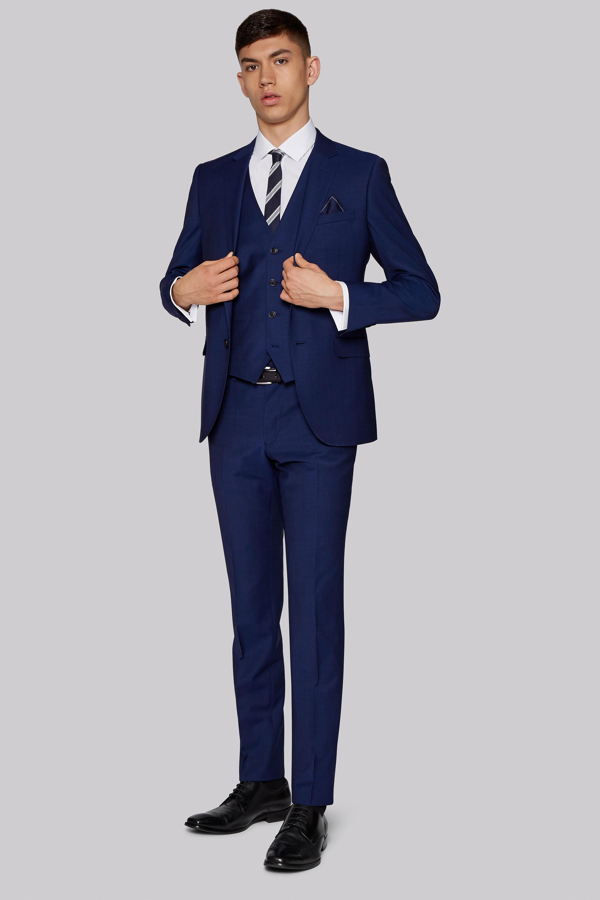 men s graduation suits moss bros moss london performance skinny fit bright blue jacket