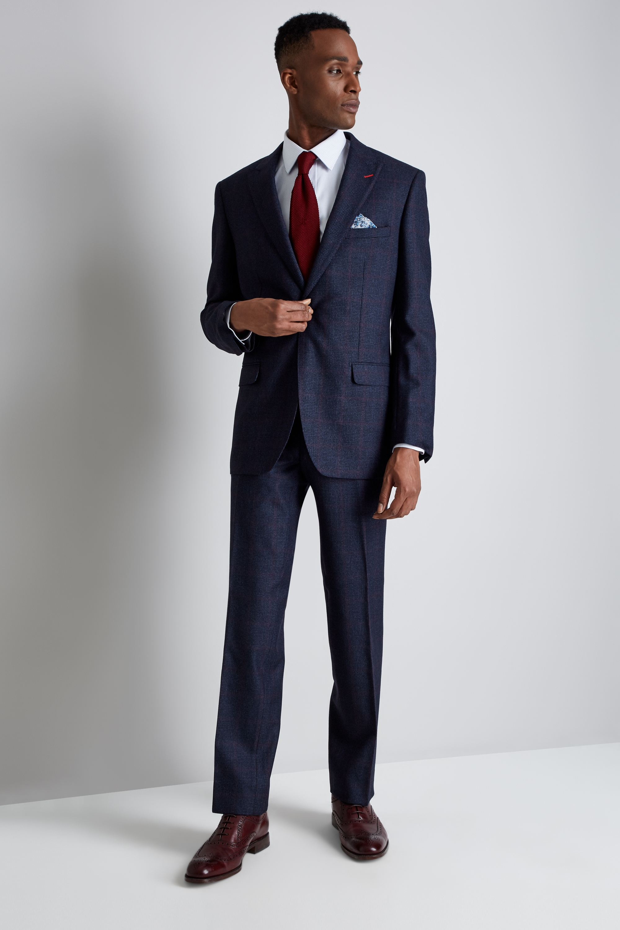 Bros Regular Fit Blue Red Check Suit