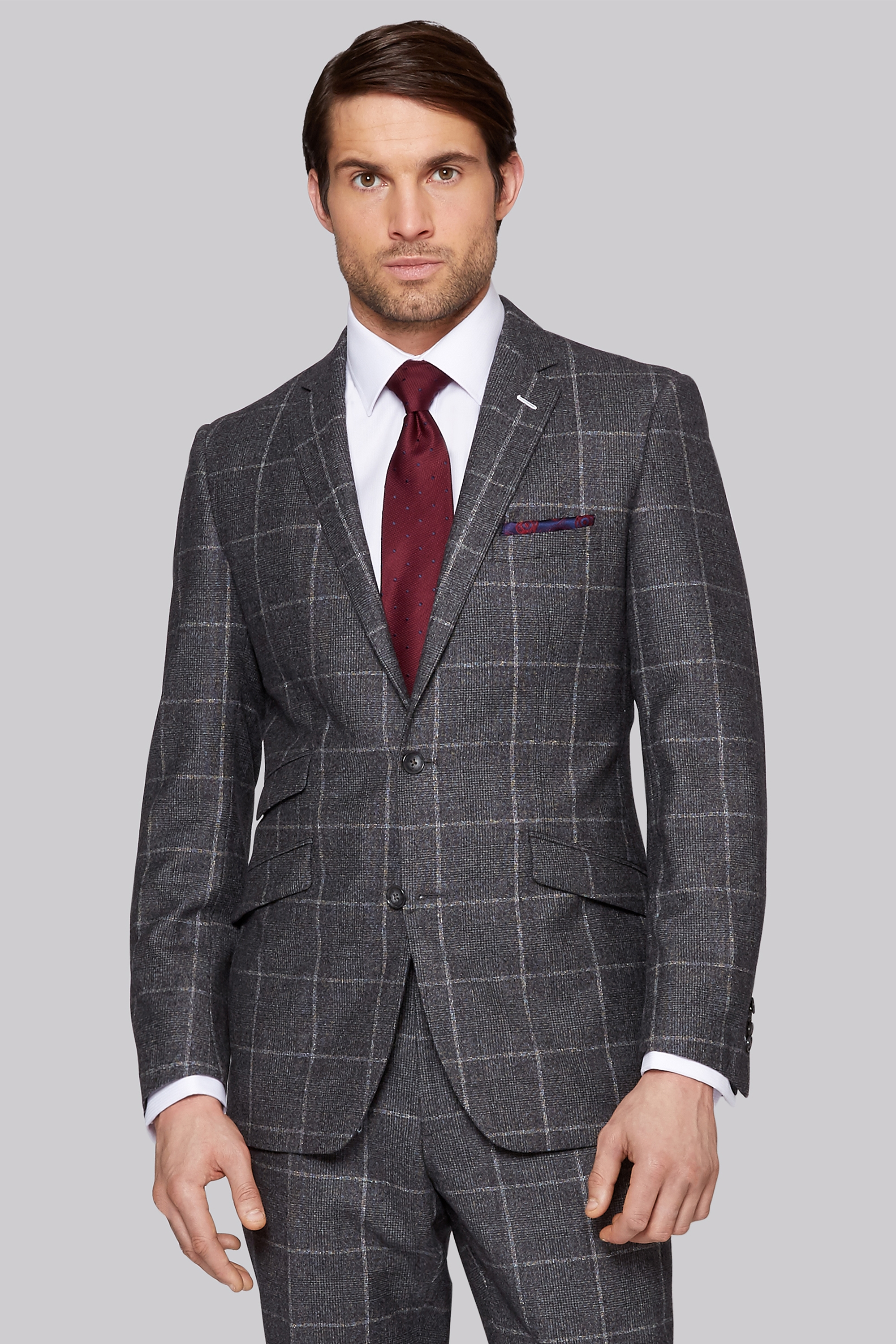 Bros Tailored Fit Grey Windowpane Check Suit