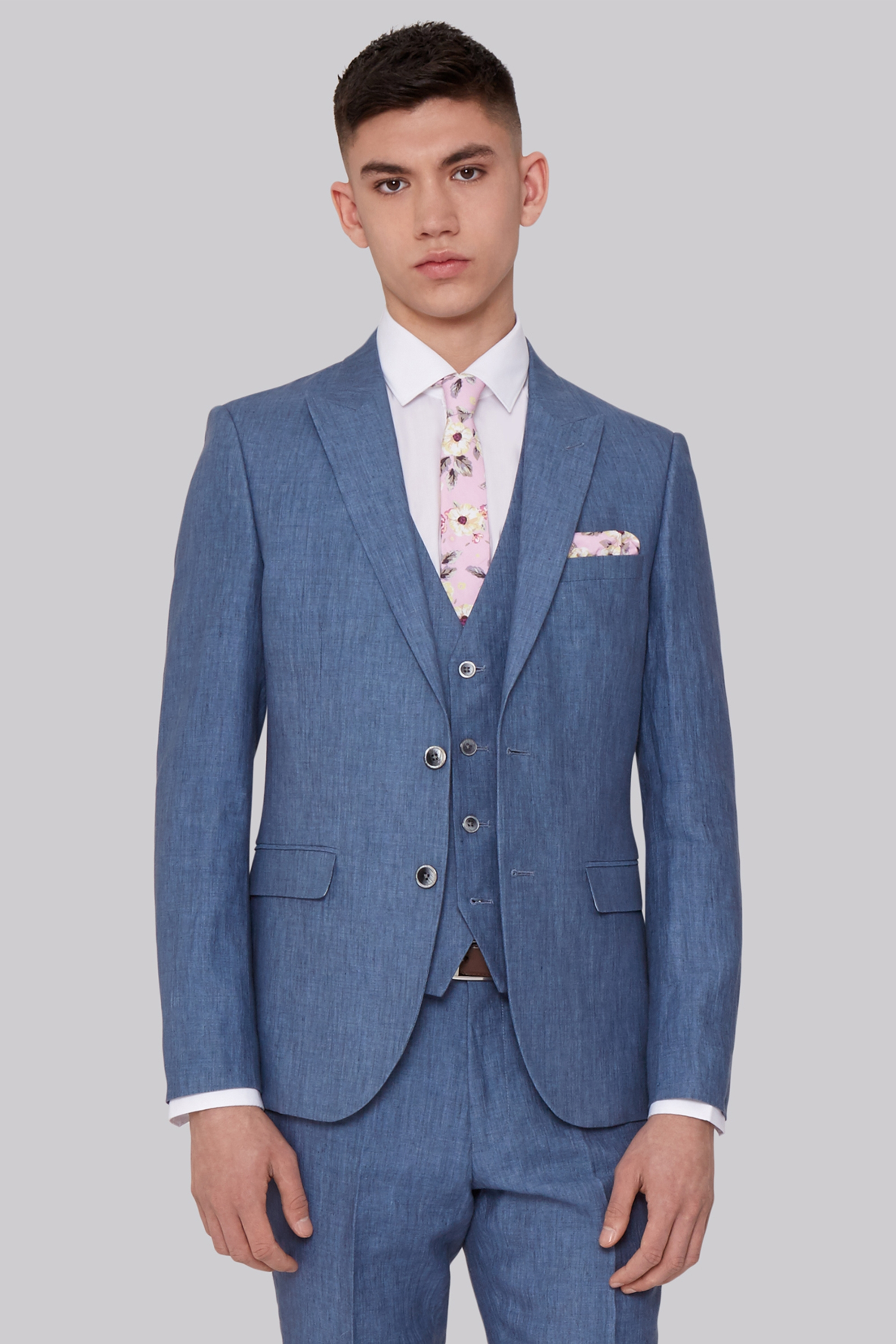 Moss London Slim Fit Sky Blue Linen Jacket