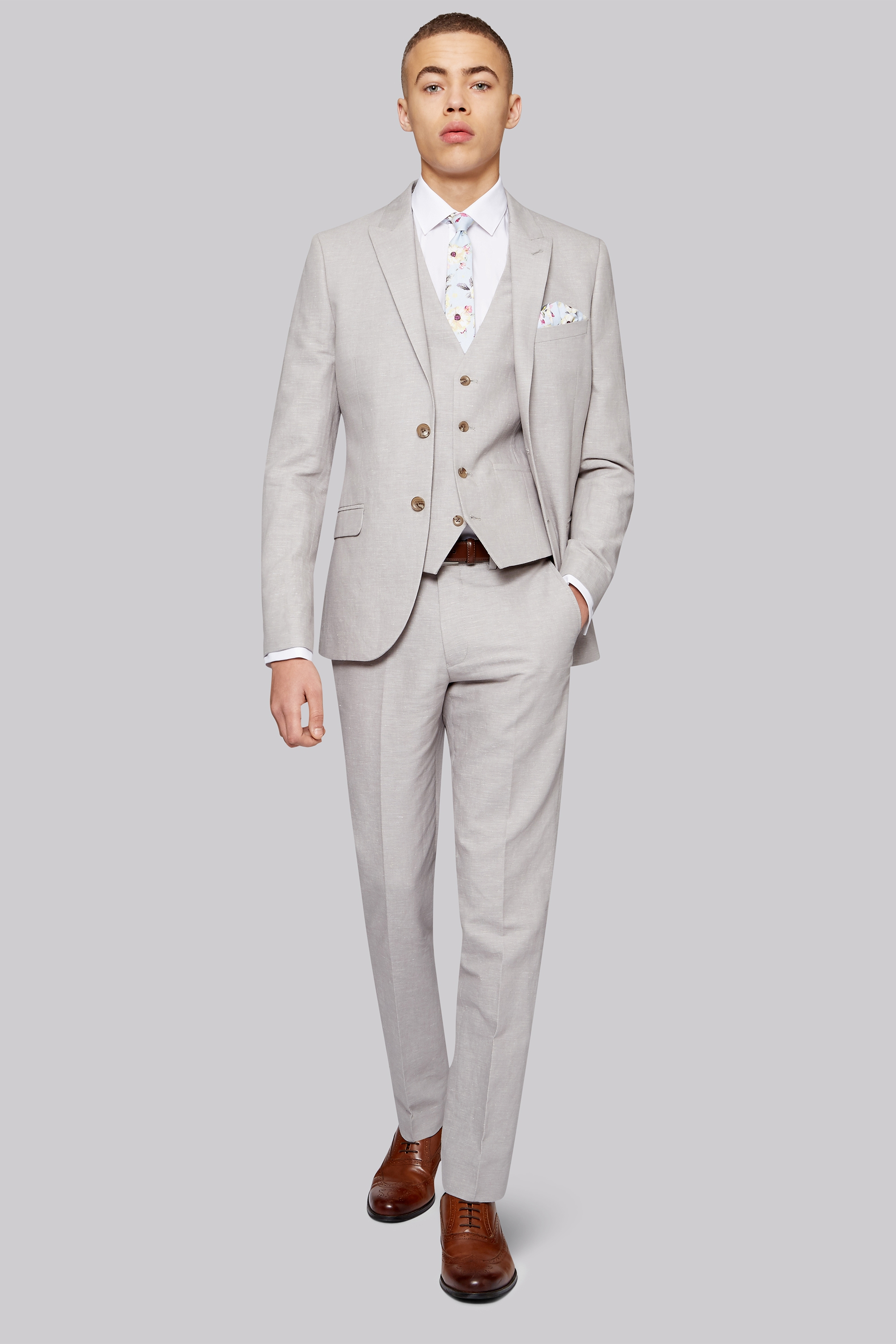 London Slim Fit Light Grey Linen Jacket