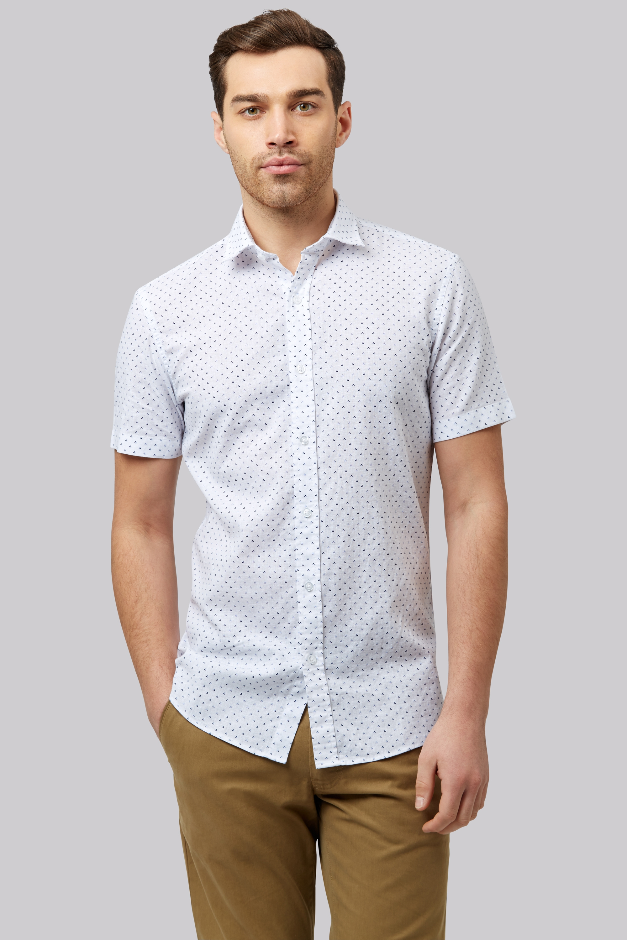 Moss 1851 Slim Fit White Linen Short Sleeve Printed Casual