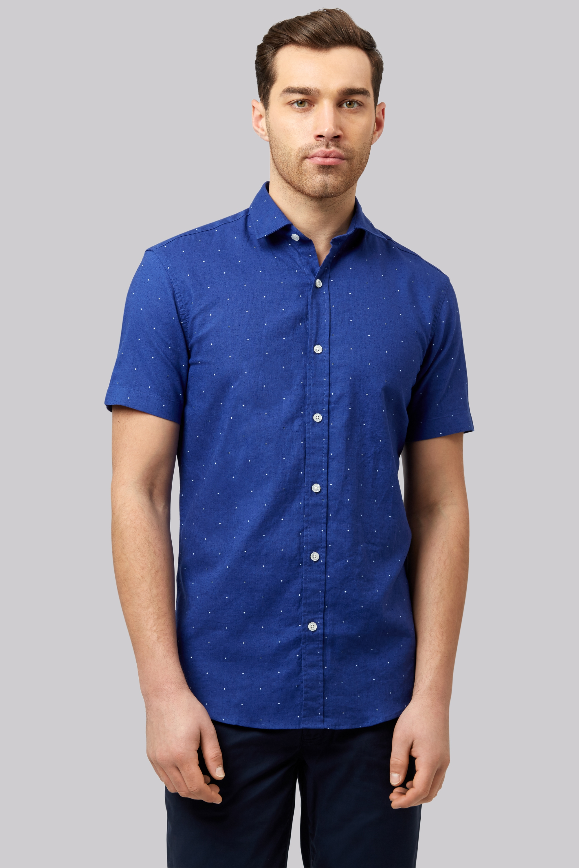 Moss 1851 slim fit blue linen short sleeve printed casual for Printed short sleeve shirts