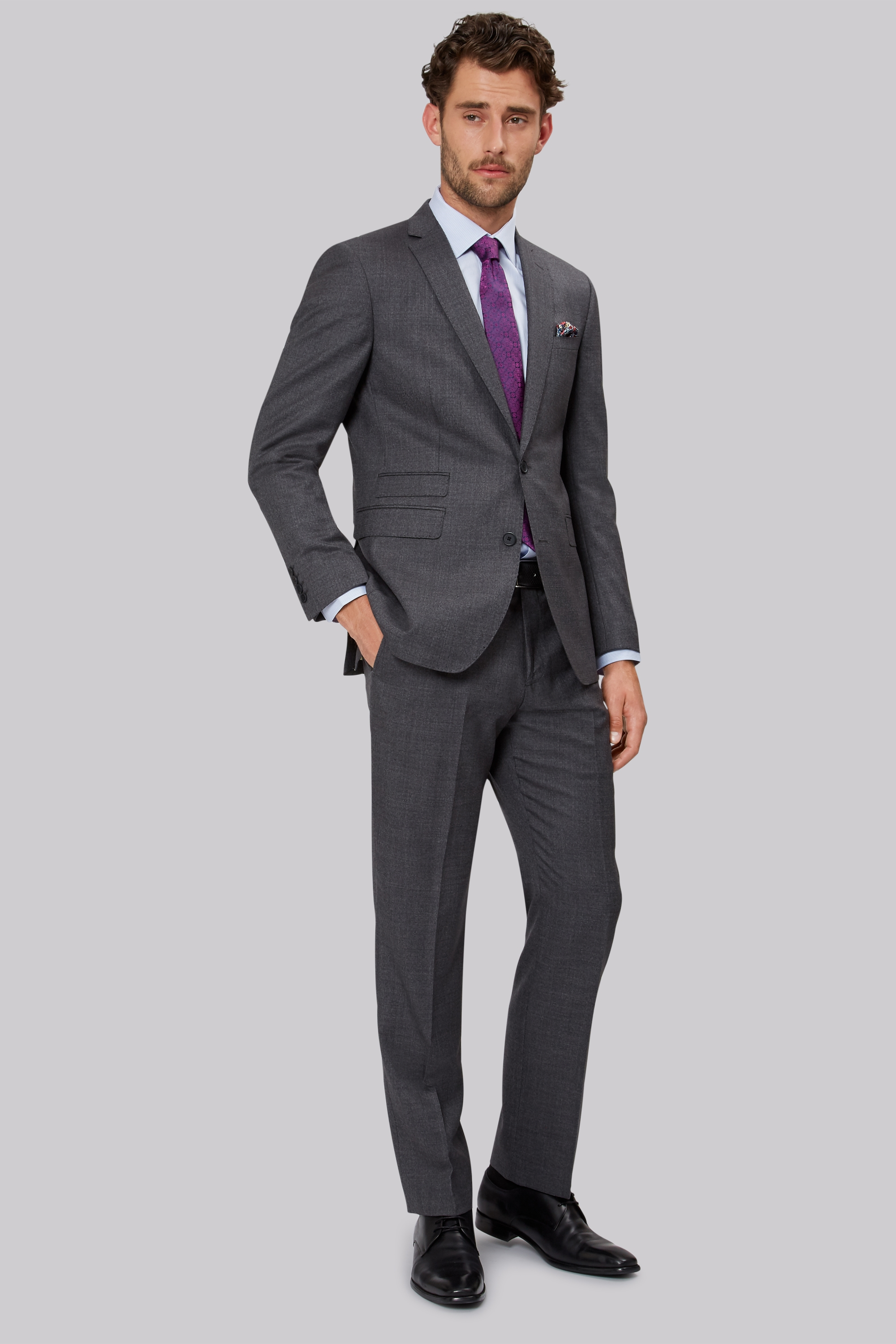 1851 Tailored Fit Mid Grey Sharkskin Suit