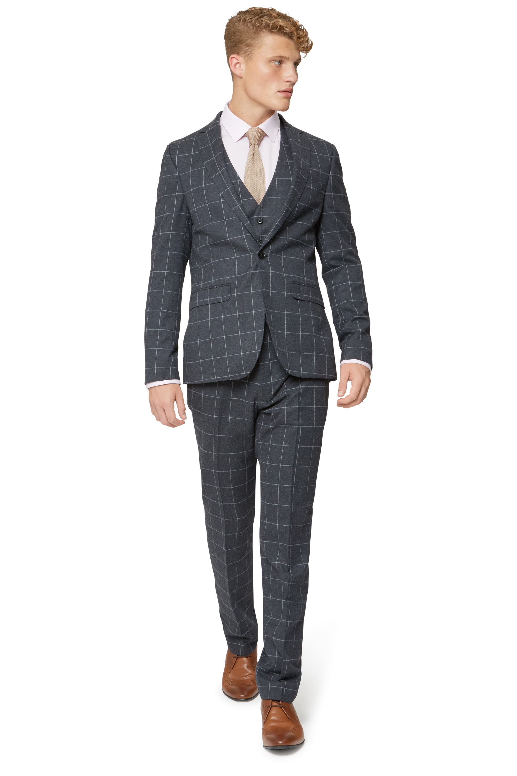Moss London Mens Skinny Fit Charcoal Windowpane 3 Piece Suit | eBay
