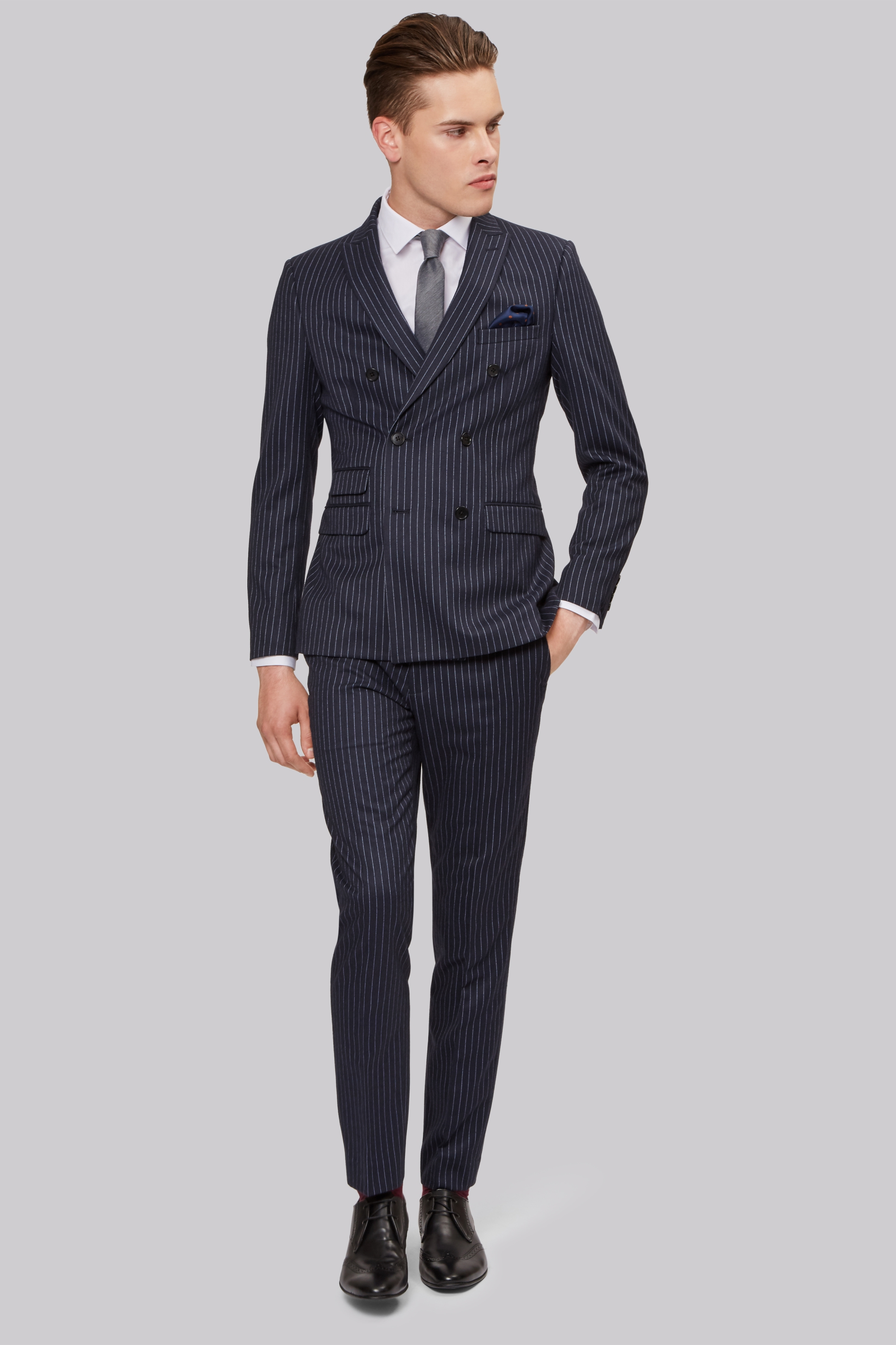 London Skinny Fit Navy Pinstripe Double Breasted Jacket