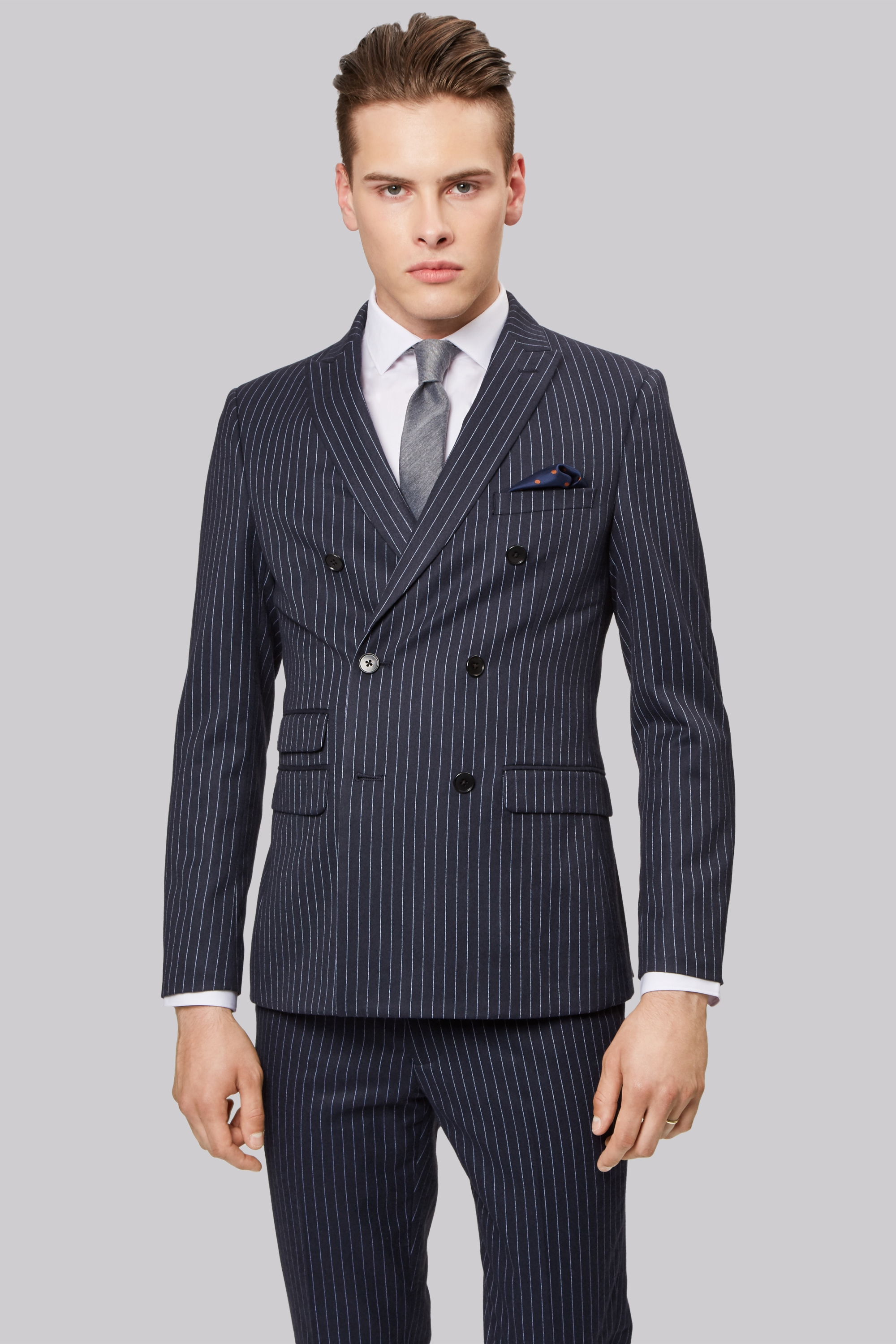 Moss London Skinny Fit Navy Pinstripe Double Breasted Jacket