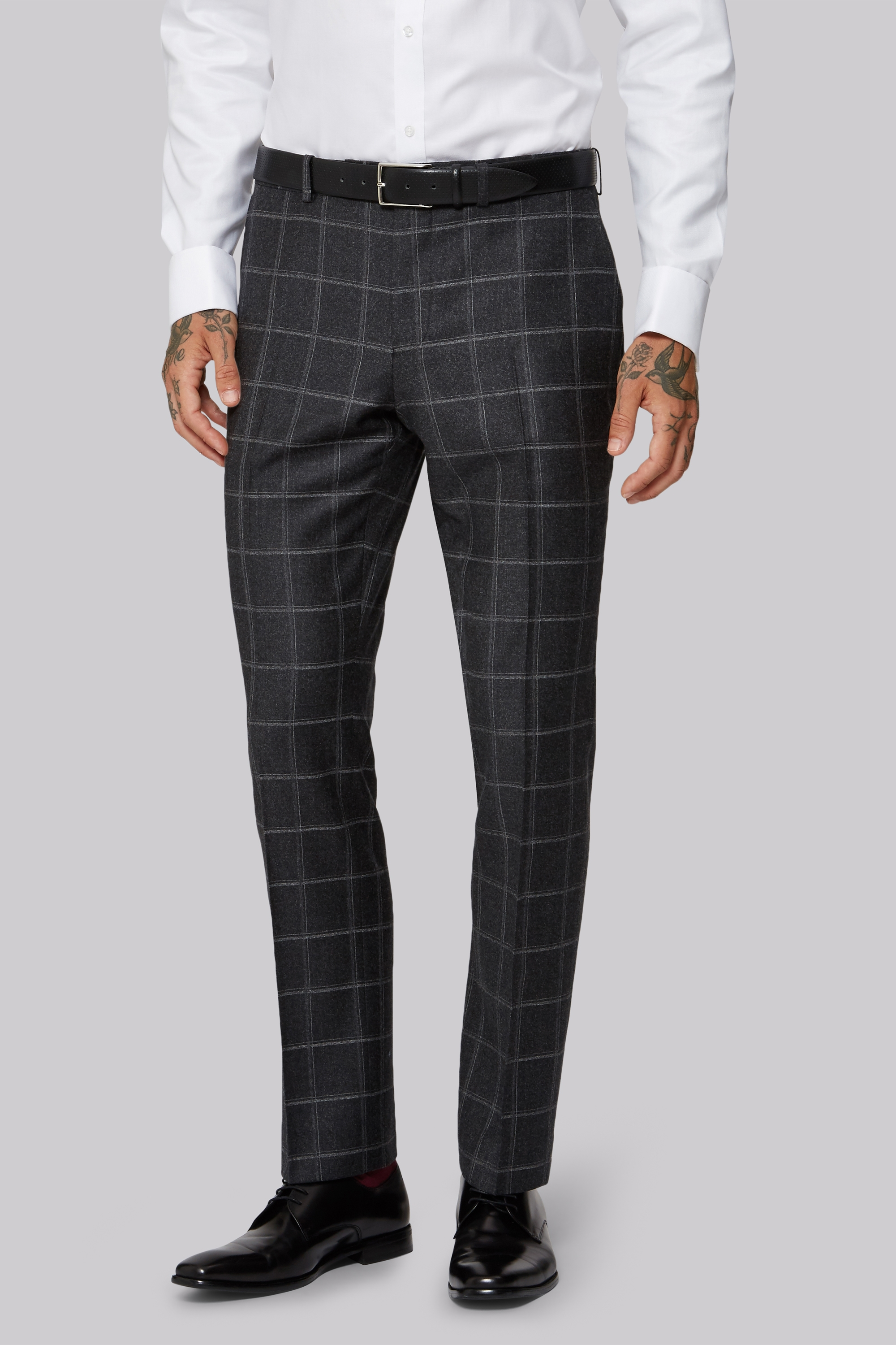 1851 Tailored Fit Italian Grey Windowpane Trouser