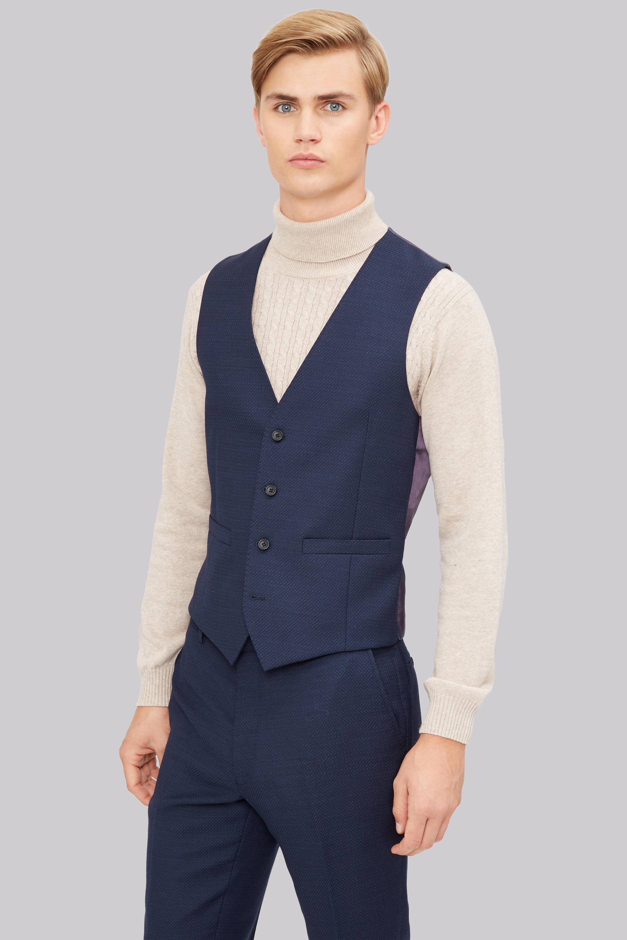 french connection slim fit navy jacquard waistcoat