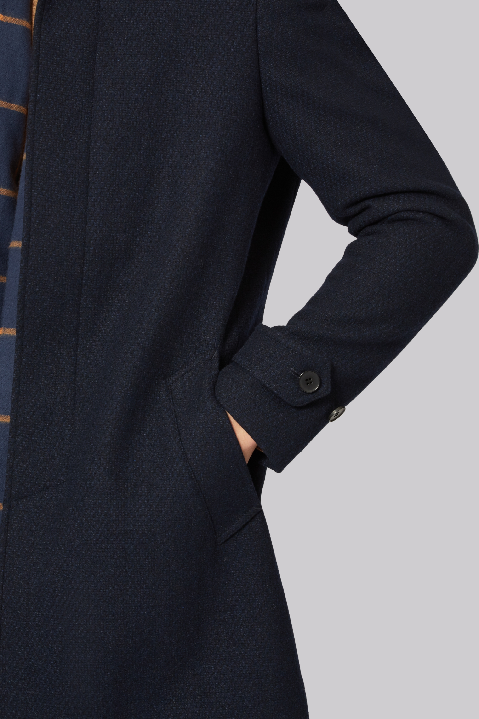 Connection Slim Fit Navy Car Coat
