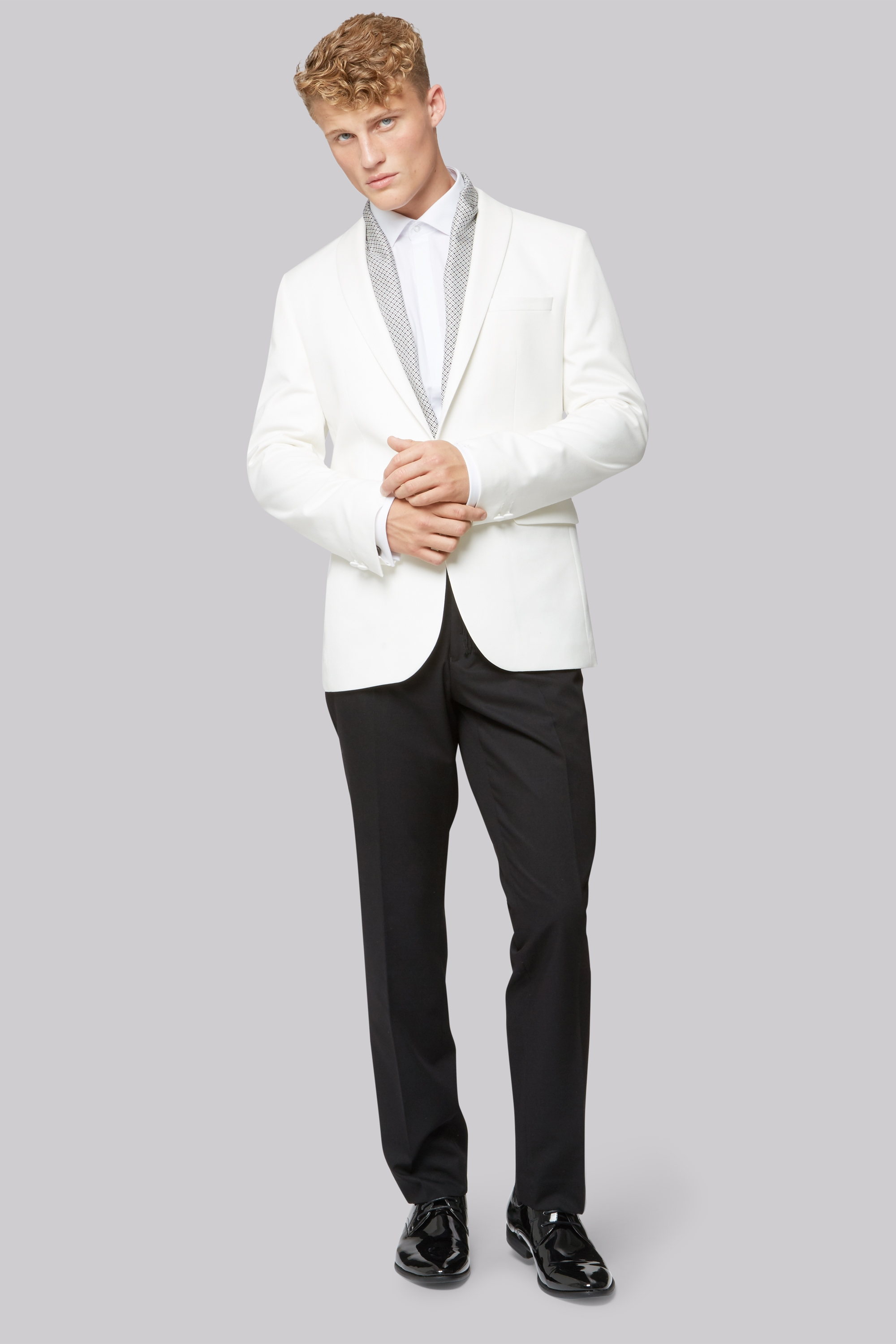 London Slim Fit White Dress Jacket