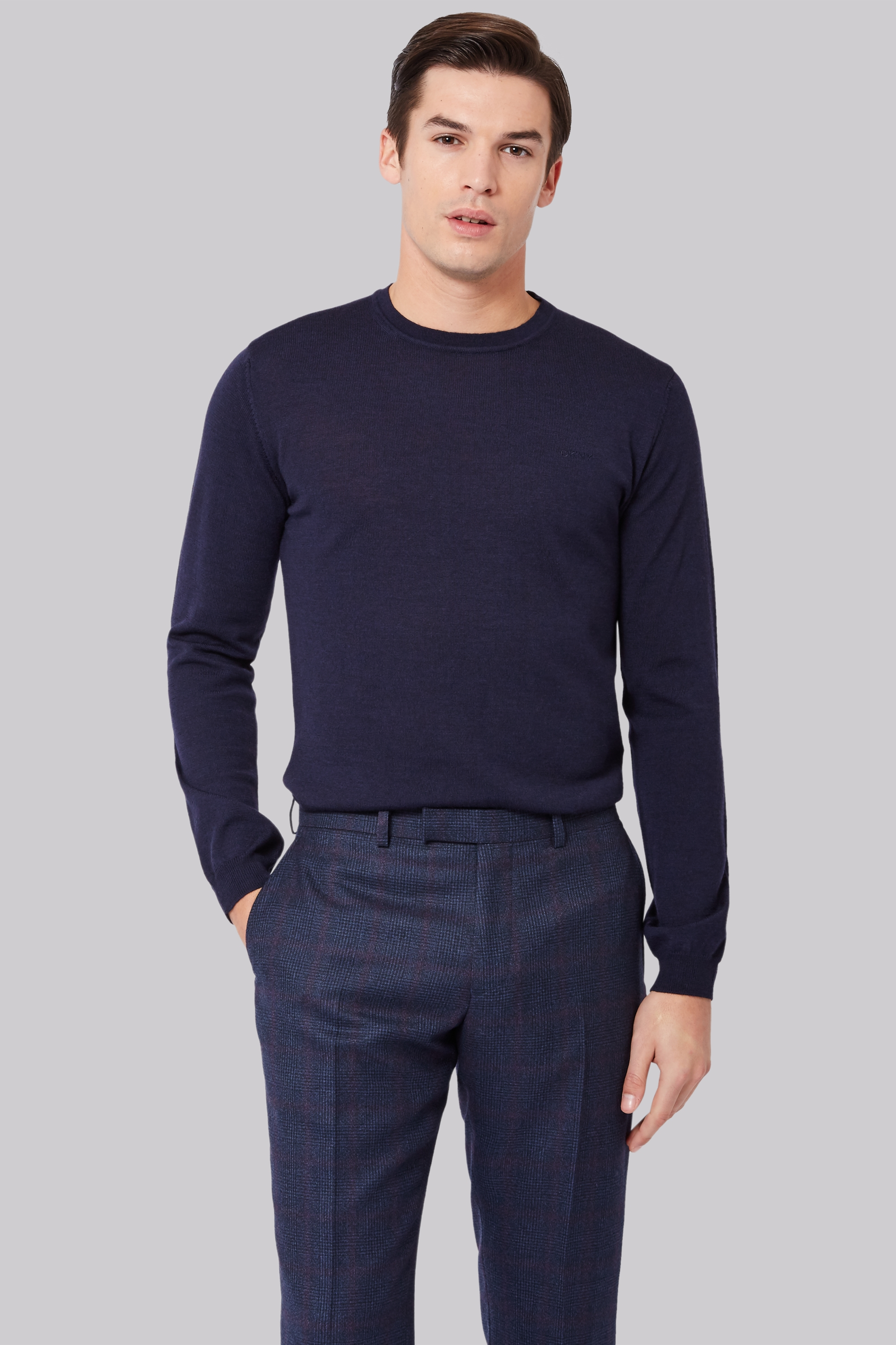 DKNY Slim Fit Navy Merino Wool Crew Neck Jumper