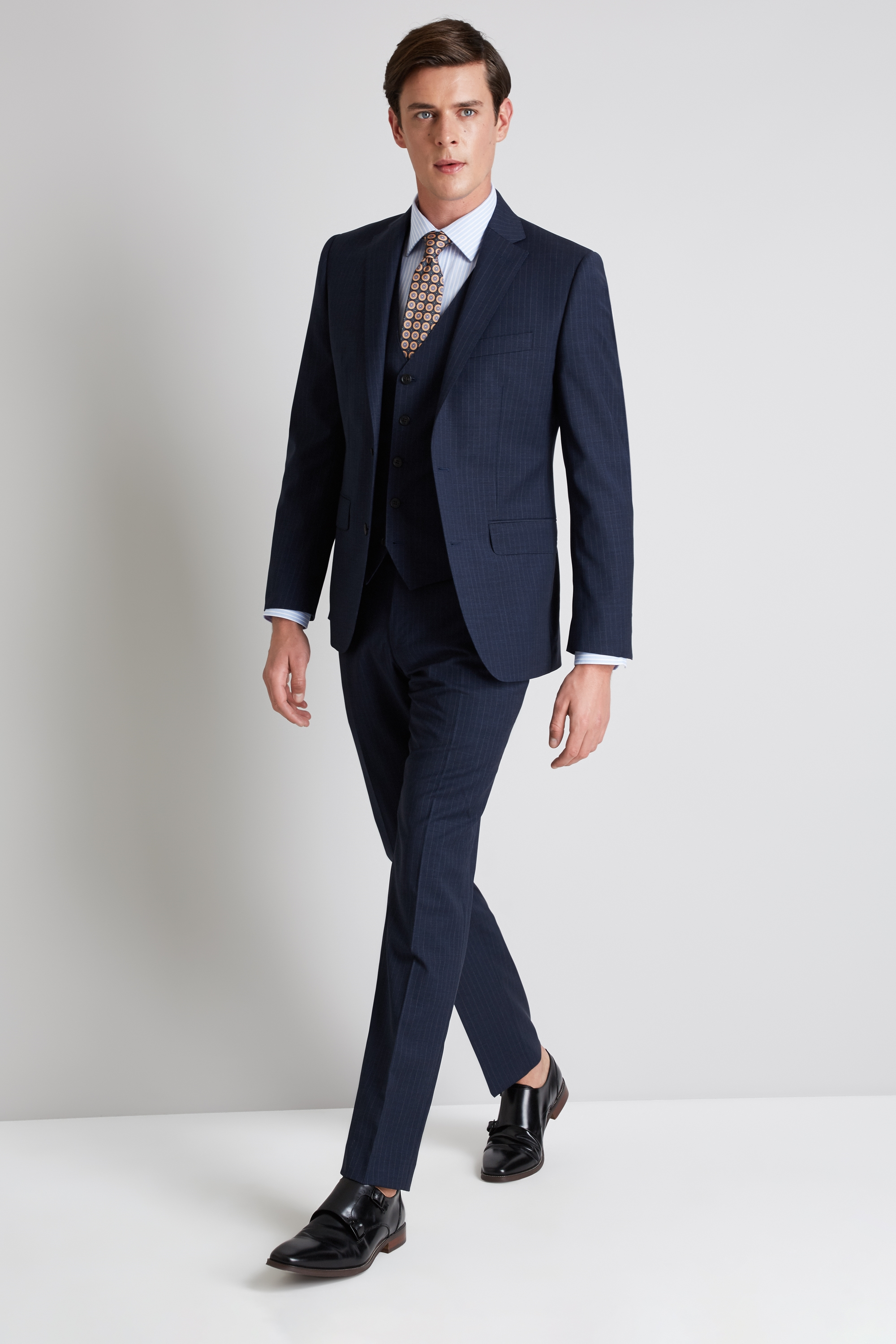 Moss 1851 Performance Tailored Fit Navy Stripe Jacket