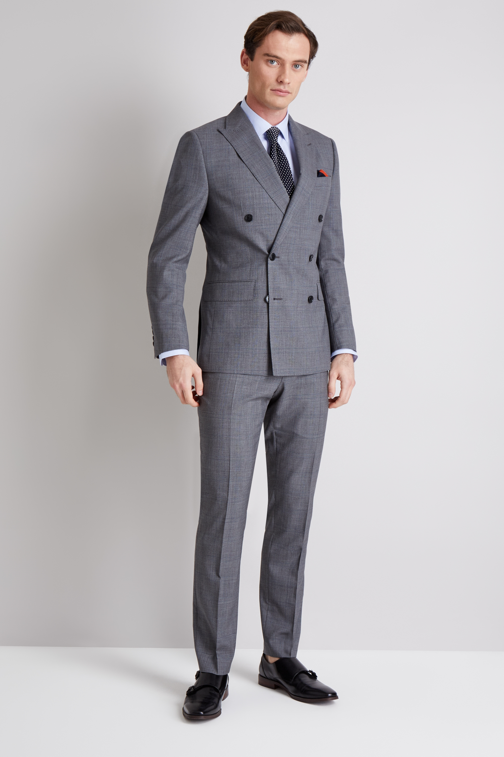 cecb1b82b Moss 1851 Tailored Fit Grey with Blue Check Double Breasted Jacket