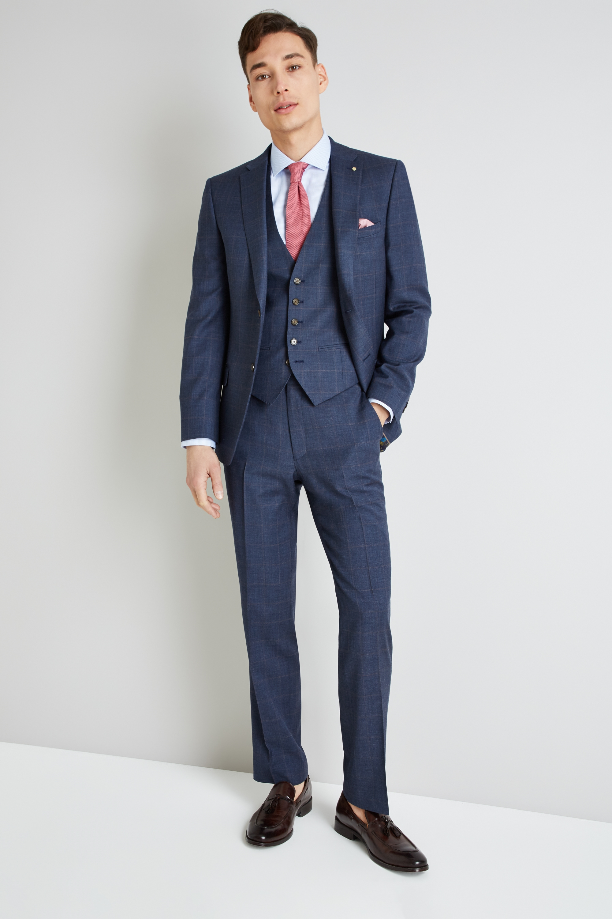 Gold Tailored Fit Blue With Rust Windowpane Suit