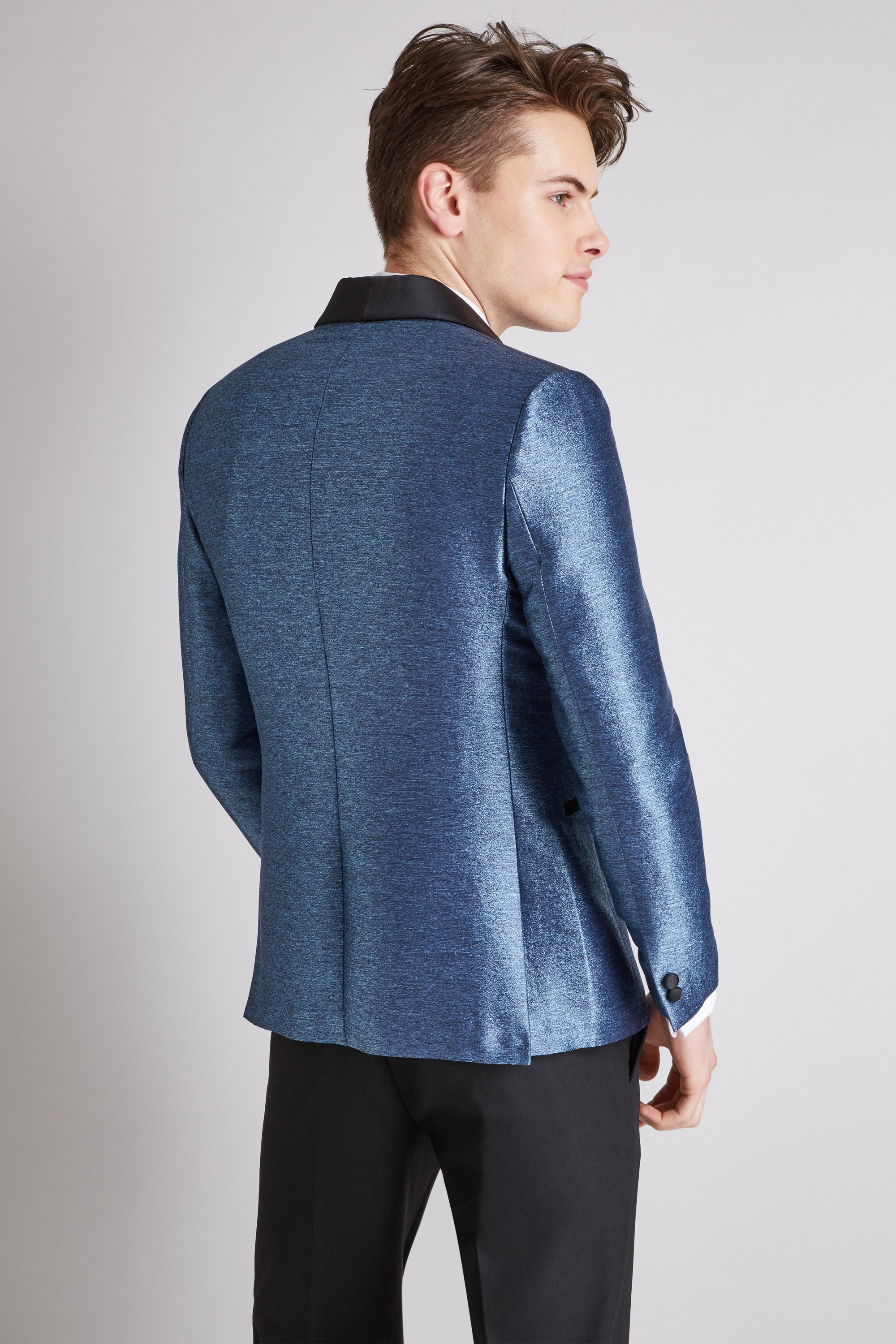 Moss London Slim Fit Light Blue Metallic Jacket