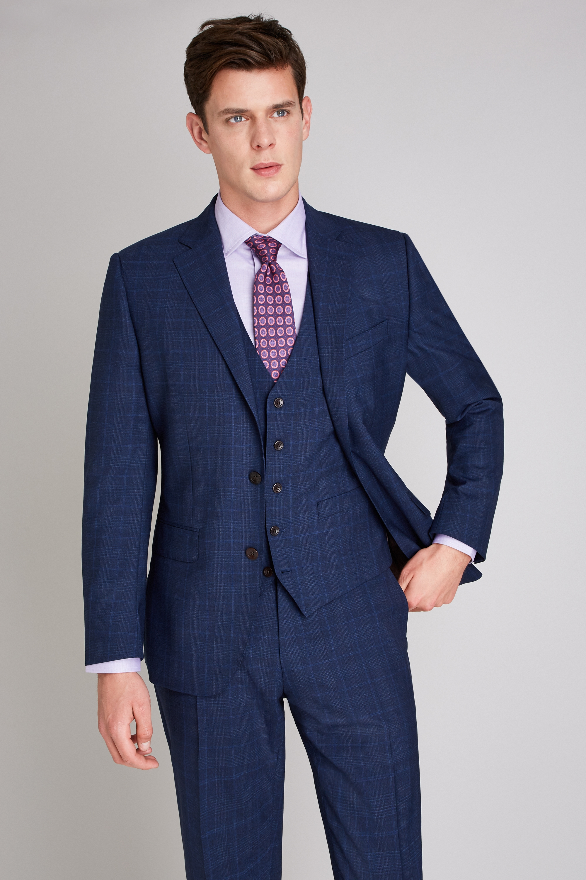 Ermenegildo Zegna Cloth Tailored Fit Navy Check Jacket