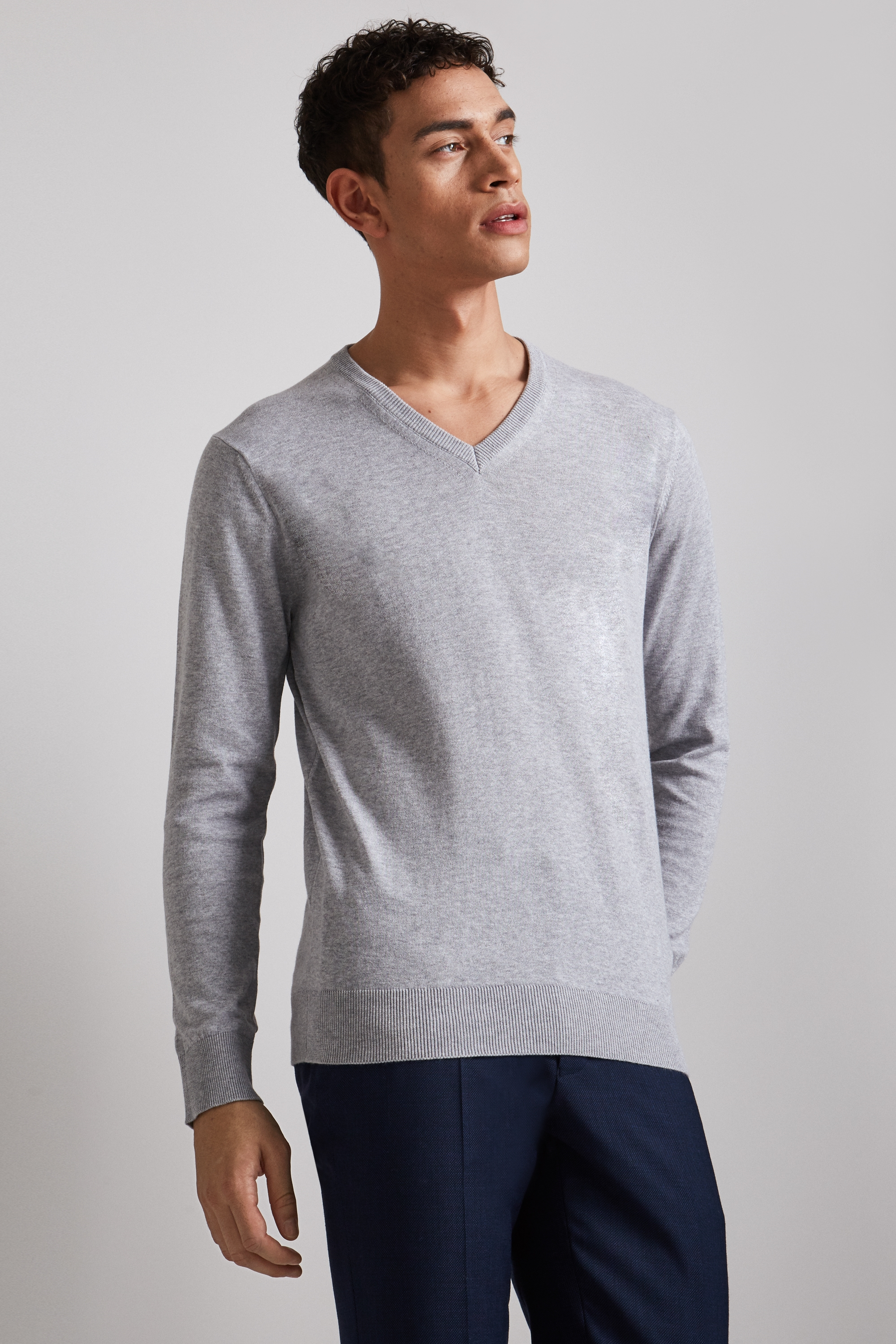 moss london silver long-sleeve cotton v-neck jumper