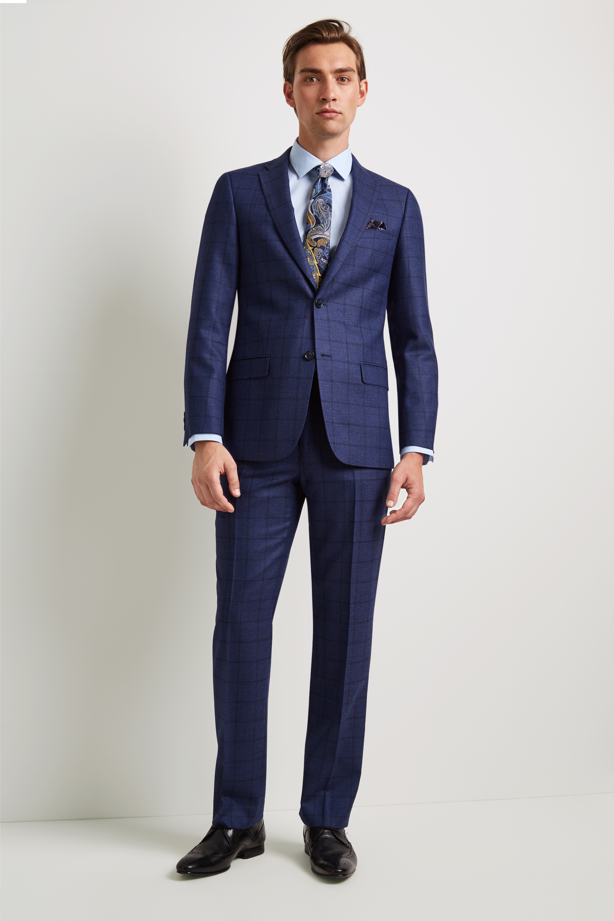 c38b512bc7bd3 Ted Baker Tailored Fit Blue Overcheck Jacket