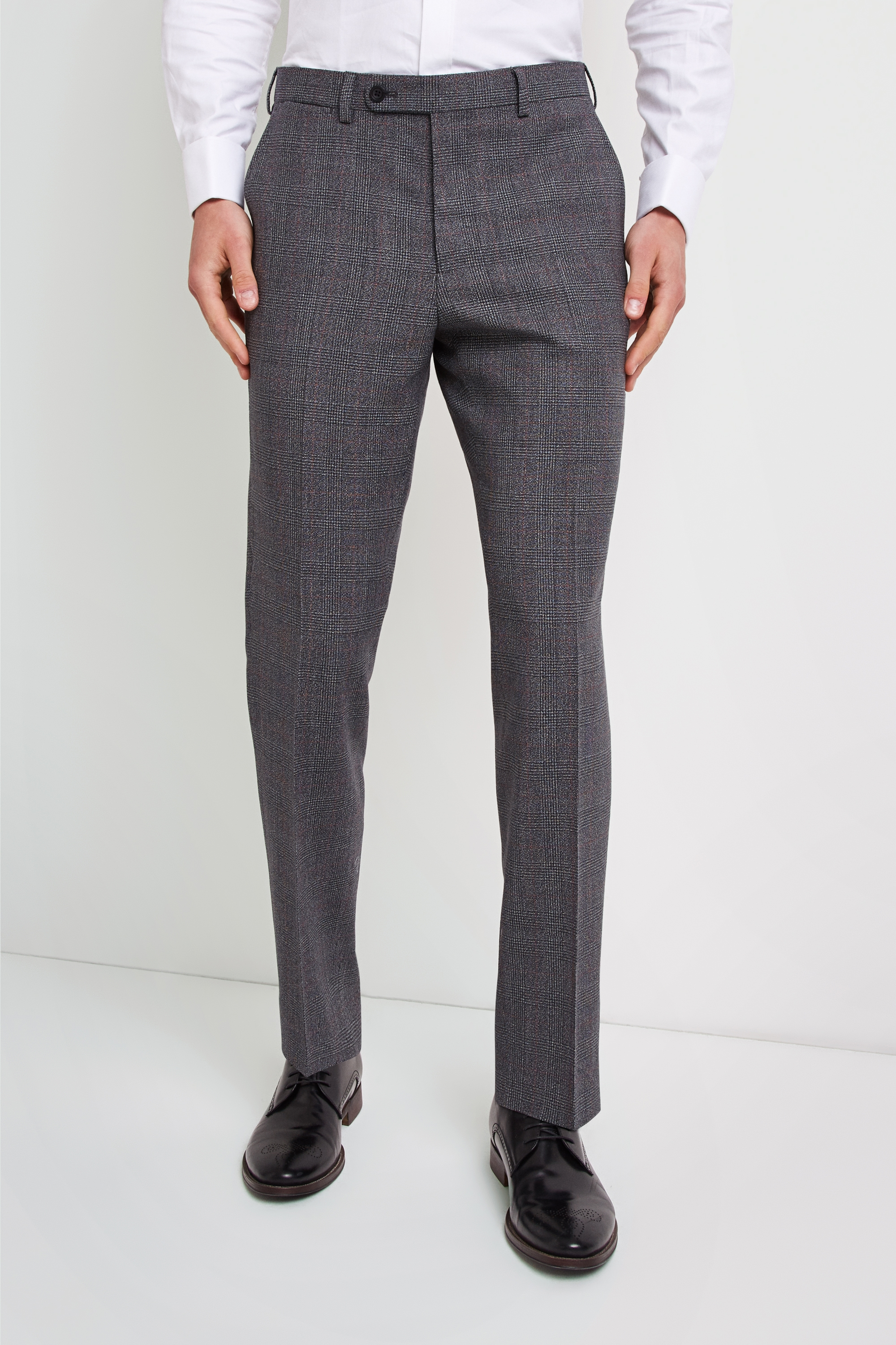 e6787edc4e94 Ermenegildo Zegna Cloth Tailored Fit Grey with Red Check Trousers