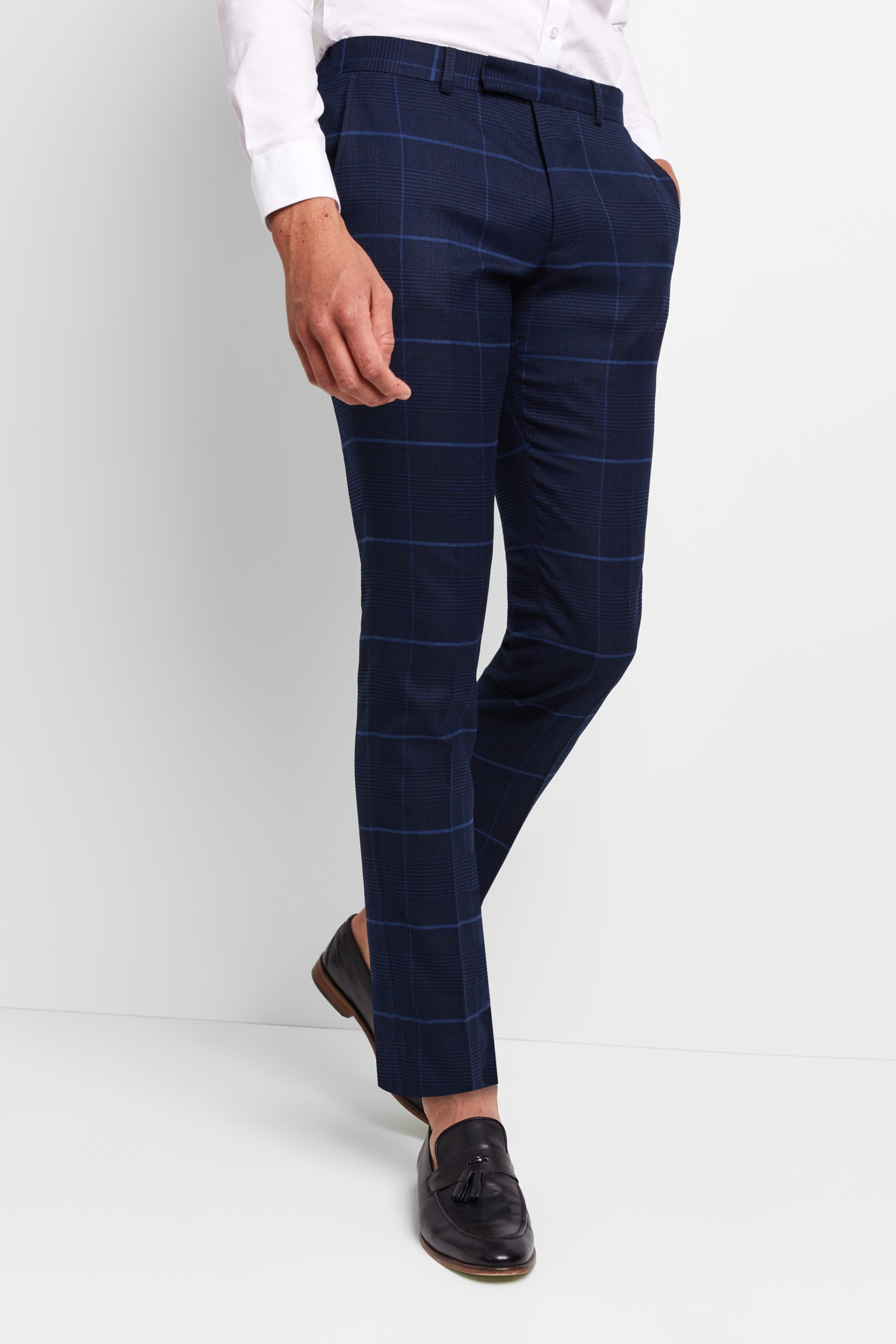 Moss London Skinny Fit Large Blue Check Trousers